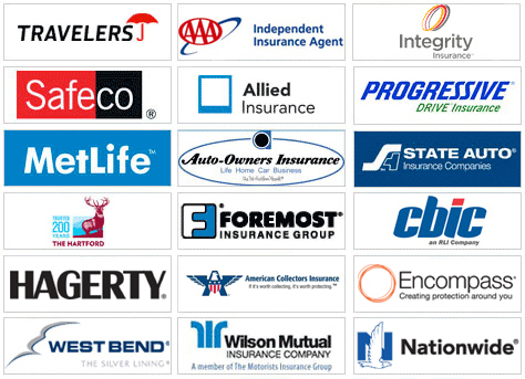 logos of companies we represent, Integrity Insurance, Travelers Insurance, AAA Insurance, Progressive Insurance, Safeco Insurance, Allied Insurance, State Auto Insurance, 