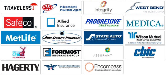 logos of companies we represent, Integrity Insurance, Travelers Insurance, AAA Insurance, Progressive Insurance, Safeco Insurance, Allied Insurance, State Auto Insurance, MetLife Insurance, Auoto-Owners Insurance, Medica Insurance, The Hartford, Foremost Insurance, West Bend Insurance, Wilson Mutual Insurance, Hagerty, American Collectors Insurance, Encompass